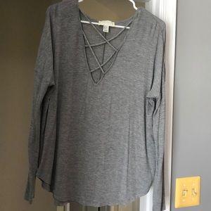 Grey crisscross top